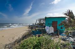 Hut on the beach (Anna Toft) Tags: seascape sea hut beach india trankebar tranquebar fisher water sky blue nature outdoors travel traveldestination camera nikon d7000 tharangambadi tamilnadu