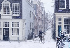 Snow blizzard in the heart of Amsterdam (B℮n) Tags: amsterdam bloemgracht snow covered bikes bycicles eerstebloemdwarsstraat holland netherlands canals winter cold wester church jordaan street anne frank house dutch people scooter gezellig cafés snowy snowfall atmosphere colorful windows walk walking bike cozy westerkerk rondvaartboot boat light rembrandt corner water canal weather cool sunset file celcius mokum pakhuis grachtengordel unesco world heritage sled sleding slee seagull lekkersluis nowandthen meeuw seagulls meeuwen bycicle 1°c sun shadows sneeuw brug toiling zwoegen sneeuwstorm blizzard 50faves topf50 100faves topf100