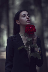Dania (Edvina Meta) Tags: flowers red roses portrait flower face fashion rose fairytale dark death darkness fantasy dreams fashiondesigner fashioneditorial fashioneditorialvogue