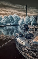 southam (Misses Davies) Tags: trees chimney colour mill clouds reflections canal geese lancashire infrared barge tethered false huddersfield bargee