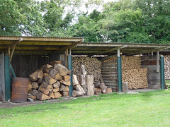Wood piles, Lower Lovetts Farm (karenblakeman) Tags: uk food vegetables reading july berkshire knowlhill 2015 woodpiles organickitchengarden readingfoodgrowingnetwork rfgn lowerlovettsfarm