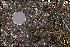 Steel Sun (Ross Hilbert) Tags: art metal bronze silver spiral gold chaos julia abstractart steel digitalart computerart fractal brass pewter mandelbrot generativeart juliaset mathart fractalart algorithmicart mandelbrotset orbittrap fractalsciencekit fractalgenerator fractalsoftware fractalapplication