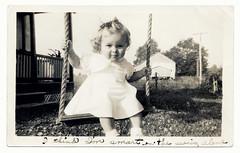 Little Girl On Swing   Vintage (PEEJ0E) Tags: white black film girl vintage swing scan