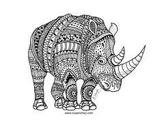 Black rhino zentangle art! #handmade #art #zentangle (ivysanchez14) Tags: handmade art zentangle mandala artwork zendoodle rhino