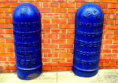 Blue Bollards, Nottingham (Tony Worrall) Tags: nottingham local city unitary authority area eastmidlands england county town nottinghamshire uk update place location visit attraction open stream tour country blue bollards marker color colours relic street urban 1869 samuel parr j g woodward overseers t godfrey assistant overseer