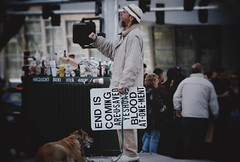 The End Is Coming (Midnight Believer) Tags: lasvegasnevada sincity thestrip preacher streetside sermon message theend warning pedestrians outdoor city urban bustle dog god christianity pet