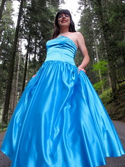 Blue ball gown (Paula Satijn) Tags: satin silk shiny gown dress skirt girl lady forest blue elegant beauty ballgown classy outdoor nature girly feminine tgirl transvestite woods trees smile necklace makeup tranny