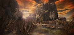 The Hell's Haven (Kacey Macbeths) Tags: thehellshaven secondlife cliffs landscape boat fields sunset sunrise trees beauty beautiful serene serenity peaceful