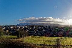 Capped (scottprice16) Tags: england lancashire clitheroe pimlico landscape view countryside rural hill pennines pendlehill ribblevalley north west cloud cap snow weather sleet sun winter january canong3x