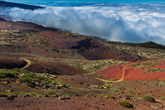 Winding down (snowyturner) Tags: tenerife teide rocks volcanic track clouds mist canaries red landscape