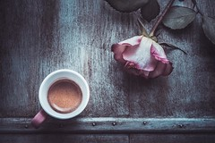Morning coffee (RoCafe on/off) Tags: stilllife coffee rose morning table rustic tabletop nikkormicro105f28 nikond600