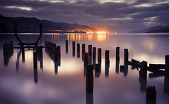 Governors Bay (DanielBartolo) Tags: ocean new morning light sea christchurch white dice black reflection beach water night landscape dawn sand rocks long exposure colours dusk zealand sales