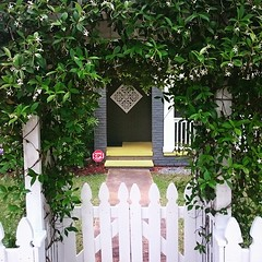 All American entrance in beautiful South Port, NC. #theworldwalk #garden #house #Southport #NC #twwphotos