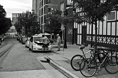 188/365 (local paparazzi (isthmusportrait.com)) Tags: street blackandwhite white black blancoynegro blanco bicycle contrast truck outdoors eos 50mm prime iso800 pod aperture downtown f14 taxi negro streetphotography yellowcab bikes toyota summertime usm madisonwi van ef bikers bikerack jumpstart 2015 isthmus f32 50mmf14usm 365project danecountywisconsin canon5dmarkii localpaparazzi redskyrocketman lopaps isthmusportrait