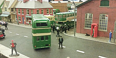 Filming On The Buses. (ManOfYorkshire) Tags: show street people dog bus buses bristol jack arthur tv district garage olive scene stan filming diorama blakey 176 luxton onthebuses easterncounties lodekka oogauge