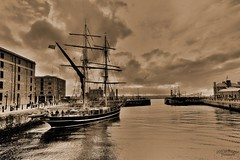 Eye of the Wind (innpictime ζ♠♠ρﭐḉ†ﭐᶬ₹ Ȝ͏۞°ʖ) Tags: sky waterfront boat rigging sepia ship afloat lock masts docks liverpool brigantine mersey 1911 canningdock sailingship crosstrees