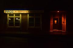 Good vs. Evil (grayit) Tags: night dark nighttime darkness darken darkened darkening black blackness red evil good air conditioning baltimore maryland outside phoenixmaryland outdoors building window windows buildings light lights lighting nightlight wall walls brick bricks white blue shadow color bright brightness brightening brighter fence pipco heating door doors orange oranges glow glowing reflection reflections pole poles post posts panes lock locked contrast leadinglines leading line exposure construction