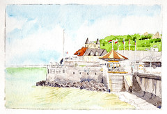 Arromanches, Normandy, France (lwdphoto) Tags: lance duffin lanceduffin normandy france village arromanches watercolor painting ocean architecture art ddaymuseum carousel