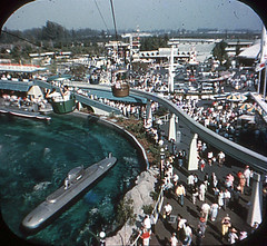 Tomorrowland Reel 3, #2a - Submarine Seen From the Skyway Ride (Tom Simpson) Tags: viewmaster slide vintage disney disneyland 1960s vintagedisney vintagedisneyland
