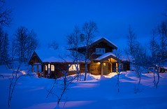 Cold outside, warm and cosy inside the cabin (harald.bohn) Tags: cabin hytte snø snow winter vinter blåtime blue hour january