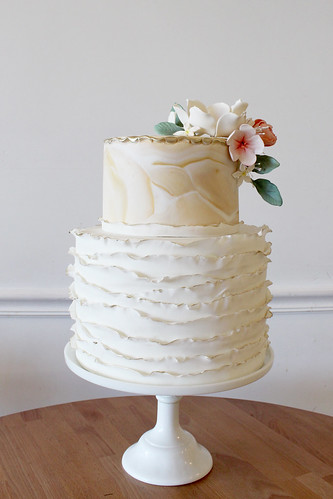 Ivory Marbled Fondant and Ruffles Wedding Cake
