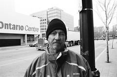 "Downtown in ""The Hammer"": Brian (Xsbmrnr (Please read profile before ""following"") Tags: 35mm 35mmfilm olympusom1 om1 olympus street streetphotography streetpeople streetportrait streetportraits downtown hamilton hamiltonontario bandw blackandwhite film trix trix400 blazinal zuiko zuiko28mm"