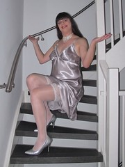 Stockings done (Paula Satijn) Tags: sexy hot girl gurl tgirl tranny transvestite satin silk nightdress nightie chemise silver stairs staircase pumps heels shiny soft legs stockings lace stockingtops upskirt lady woman dress gown