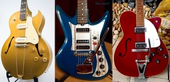 Gibson gold, Teisco blue, Martin red (Ultrachool) Tags: music color electric colours martin guitars gibson stringedinstrument teisco