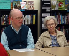 Rob Chappel and his mother at his talk on historical origins of vampire concepts (benchilada) Tags: vampire mother talk rob his historical origins concepts chappel