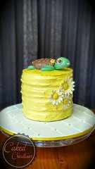 Yellow cake and a turtle was the request, so this is what I came up with.   The turtle was too cute! Really loved how it came out. Yellow smbc and a few gumpaste daisies all on a cute board... and she was one happy birthday girl! (cakedcreations) Tags: birthday yellow cake turtle sugar caketopper gumpaste smbc