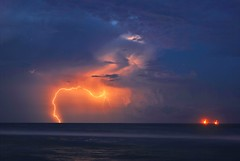 Lightning over the Gulf (_cherrycreekphoto_) Tags: ocean summer gulfofmexico weather background hurricane extreme alabama scene depression tropical strike thunderstorm lightning severe fortmorgan