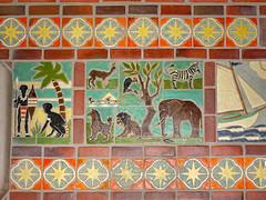 Memorial Tile (dwgibb) Tags: elephant church abbey sailboat tile scotland michigan detroit lion stainedglass zebra sanctuary vaultedceiling gothicarchitecture natives bloomfieldhills pewabicpottery kirkinthehills melroseabbey pewabictile edwinsgeorge