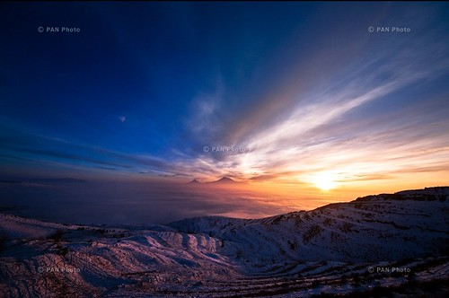 Sunset over Mount Ararat from Charents Arch, Garni…