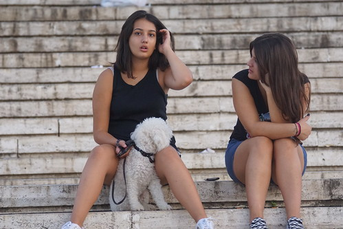 Young Albanians and their dog
