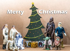Star Wars Christmas (tsmpaul) Tags: starwars star wars canon eos600d rebelt3i kissx5 christmas tree christmastree presents crates boxes r2d2 c3p0 c3po hansolo lukeskywalker princessleia chewbacca yoda wicket ewok droid robot alien