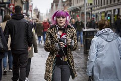 The Eye of the Tiger (Leanne Boulton) Tags: outdoor urban street candid portrait portraiture streetphotography candidstreetphotography candidportrait eyecontact candideyecontact streetlife woman female girl face facial expression look emotion feeling atmosphere mood eyes piercing pink hair leopard print style fashion fingernails individuality tone texture detail depthoffield bokeh natural light shade shadow city scene human life living humanity people society culture canon 5d canon5dmarkiii 70mm character ef2470mmf28liiusm color colour glasgow scotland uk