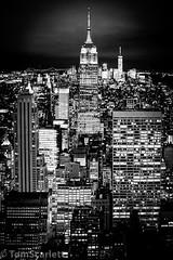 "Old and the new portrait (cptscarlett78) Tags: ""tom scarlett"" ""nikon"" ""d7100"" ""nikon d7100"" usa newyork newyorkcity nyc manhattan rockefeller rockefellercentre topoftherock skyline blackandwhite night empirestatebuilding empirestate oneworldtradecentre"
