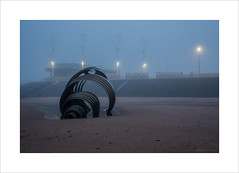 Mary's Shell II (andyrousephotography) Tags: cleveleys marysshell sculpture stephenbroadbent steel shell beach tide out early morning misty damp drizzle blue andyrouse canon eos 5d mkiii