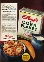 Kellogg's Corn Flakes, 1936 (STUDIOZ7) Tags: kelloggs cornflakes cereal 1930s thirties 30s bananas ad advertisement swimming summer breakfast box package