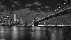 Brooklyn bridge (B&W version) (Carlos Arriero) Tags: newyork estadosunidos puentedebrooklyn brooklynbridge bridge brooklyn manhattan nuevayork américa agua water river río carlosarriero viajar travel blackandwhite blancoynegro skyline cityscape nikon d800e longexposure largaexposición nocturna noiretblanc monochrome ciudad urban street calle libertytower torredelalibertad nubes clouds tamron 2470mm nightscape bw