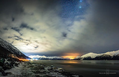Mid winter dream (Traylor Photography) Tags: flow girdwood vehicles stars mountains dreaming portage panorama clouds haze tide bright lights sewardhighway snow alaska anchorage unitedstates us