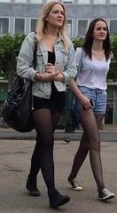 374 (jimmystrider135) Tags: girls woman girl see women dress skirt sneakers jeans short blonde shorts through seethrough pantyhose blackhaired