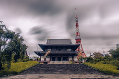 Tradition vs Modernity (arif nurhakim) Tags: tower japan clouds canon dark lens tokyo ancient asia long exposure gloomy buddhism temples l 5d tradition mkii lightroom modernity vsco neoprime