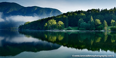 Morning at Lake Bohinj in Slovenia (Ian Middleton: Photography) Tags: park morning travel summer vacation mist lake holiday mountains reflection tourism beautiful misty landscape scenery europe european mood moody famous scenic eu tourist clear slovenia alpine national valley stunning former popular resorts picturesque region bohinj yugoslavia attraction triglav slovenian slovene gorenjska