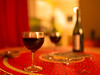 Red Wine (Lux Obscura) Tags: stilllife red wine bottle decorum table glasses tablecloth curtain warmth