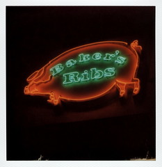 Baker's Ribs Neon (tobysx70) Tags: the impossible project tip polaroid slr680 frankenroid sx70 door rollers film for 600 type cameras instant impossaroid baker's ribs main street deep ellum dallas texas tx pig green orange red neon sign lit illuminated night nocturnal barbecue bbq restaurant polacon2016 polaconone 093016 toby hancock photography