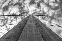 Supporting Role (John Getchel Photography) Tags: bridge california clouds goldengate sanfrancisco blackandwhite rivets tower unitedstates us