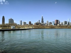 Postcard (ancientlives) Tags: chicago illinois usa downtown lakemichigan lakefronttrail lakeshore lake landscape skyline skyscrapers architecture buildings view saturday january 2017 winter warm bluesky sunshine walking