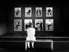 Appreciating Art 001.jpg (Peter.Bartlett) Tags: noiretblanc olympusomdem5 unitedkingdom bench people streetphotography urbanarte westyorkshire peterbartlett urban candid uk m43 microfourthirds woman bw lunaphoto niksilverefex blackandwhite art monochrome saltaire saltsmill davidhockney gallery