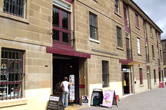 Hobart. Salamanca Place. Old warehouses are now cafes studios galleries and shops. (denisbin) Tags: hobart tasmania salamancaplace cottage batterypoint egyptianstyle jewishsynagogue synagogue cosmos governmenthouse derwentriver temple ladyfranklin greektemple classical